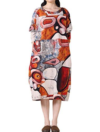 MatchLife Femme Vintage Col Rond Imprimé de Fleurs Coton Robe avec des Poches Orange