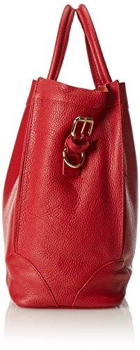 CTM Borsa elegante a mano da donna, borsa a sacca in morbida pelle made in Italy 37x30x15 Cm Rosso