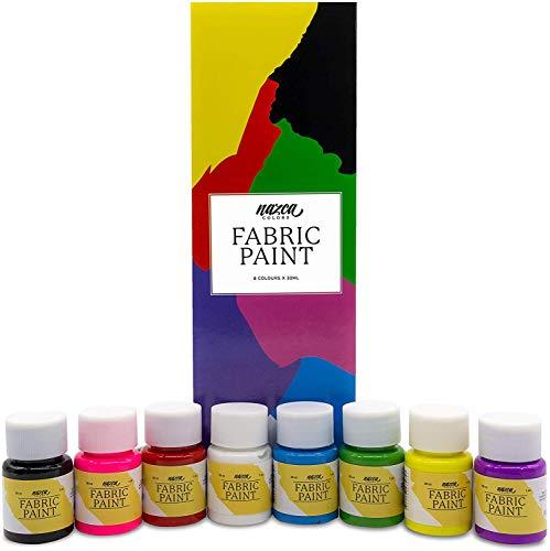 Set Pintura Textil Nazca Colors - 8 Colores x 30 ml      ¿Estás pensando en decorar un bolso de tela? ¿customizar alguna de tus camisetas? ¿O personalizar cualquier prenda textil? Entonces este set de pintura textil de la marca Nazca Colors e...