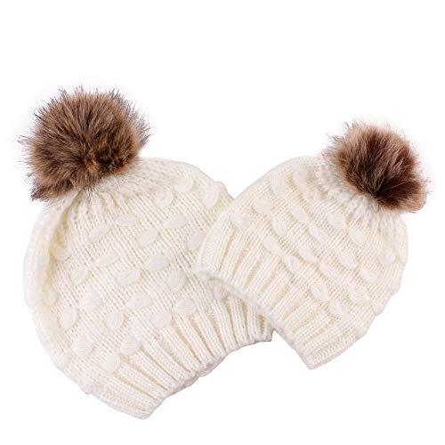 QinMM 2 PCS/Set Mamá y bebé Gorro de Punto cálido Invierno Sombrero Mujer y bebé niño