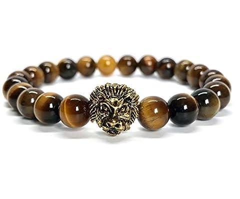GOOD.designs Löwen Perlenarmband aus echten Natursteinen und edler Löwenkopf Perle,
