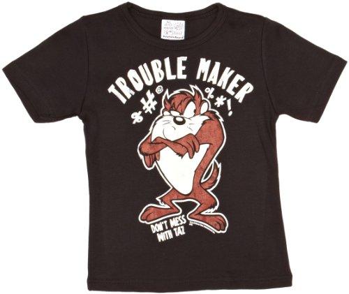 Looney Tasmanischer Kostüm Tunes Teufel (Looney Tunes - Taz - Trouble Maker T-Shirt Kinder - schwarz - Lizenziertes Originaldesign - LOGOSHIRT, Größe 122/134, 7-9)