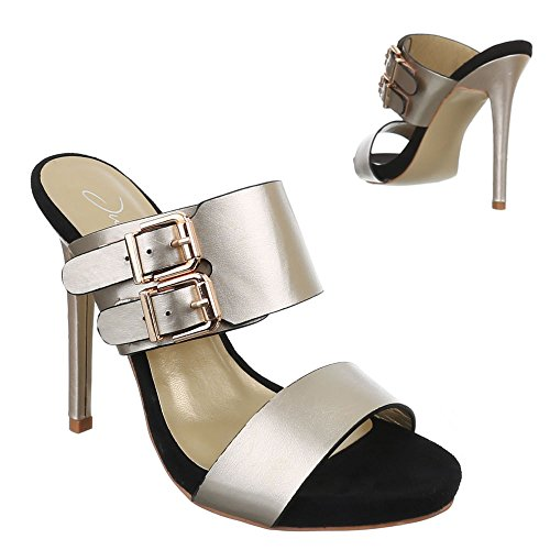 Damen Schuhe, F59, SANDALETTEN HIGH HEELS PUMPS Gold