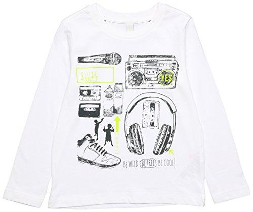 ESPRIT Jungen Langarmshirt RL1004412, Weiß (White 010), 104 (Herstellergröße: 104/110)