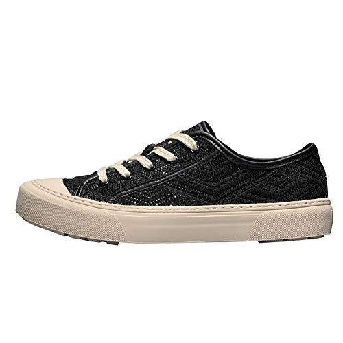 8HAOWENJU Scarpe di Tela, Scarpe da Uomo Traspiranti, Fondo Morbido, Scarpe Sportive Casual, Nere (Color : Black, Size : 43 Yards)