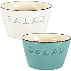 Salatschüssel Salatschale Servierschüssel Küchenschale Keramik (Cremefarben)