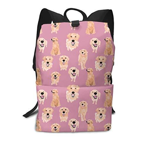 Golden Retrievers auf rosa Mittelschul-Rucksack für Teenager groß Casual Durable Daypack Reiserucksack -