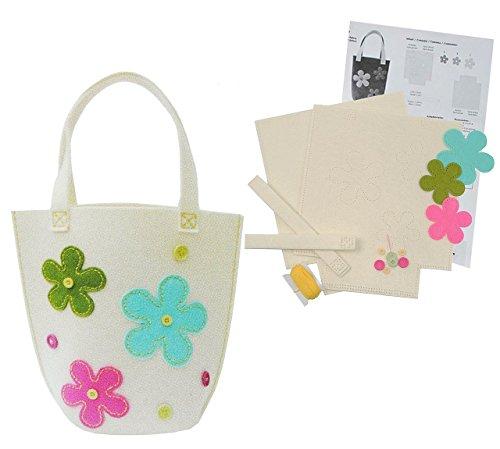 Bastelset: für XL - Filztasche zum Sticken, Nähen per Hand - Tragetasche Filz creme mit Blumen - Tasche mit Blumen Blüten Handarbeiten Filz (Creme Stoff-handtaschen)