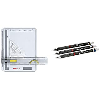 Aristo AR70442 Geo-Board Zeichenplatte (Format: A4, schlagfester Kunststoff, inkl. Schnellzeichendreieck AR7090) weiß & rOtring 801310 Tikky Druckbleistift (black Barrel, 3-teiliges Set)