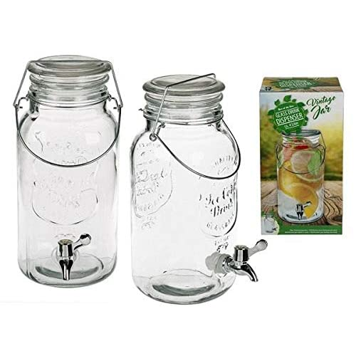 Glass drink dispenser,Vintage Jar, with metal clip lid & handle, ca. 4 Liter, H: ca. 31 cm