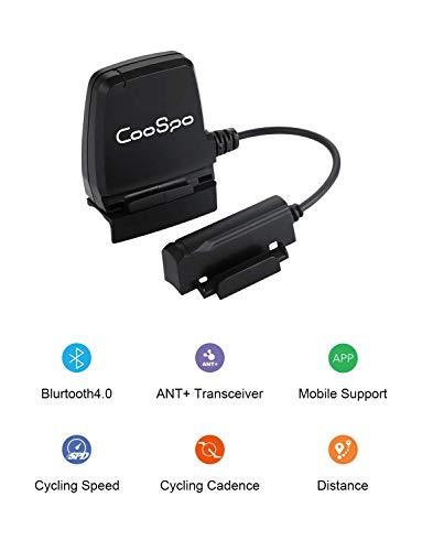 CooSpo Sensor de Velocidad y Cadencia Sensor de Bicicleta Sensor de Cadencia Bluetooth 4.0 Ant+ Impermeable IP67 Compatible con Strava Wahoo Ciclo Computadores y Otros