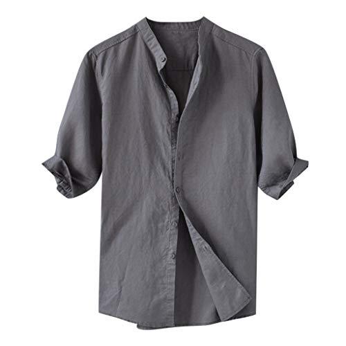 Aoogo Herren Tops Sommer Herren atmungsaktiv einfarbig Knopf Baumwollhemd Fünf-Punkt-Ärmel ÄrmelLässig Täglich Mode Im Freien Sommer Shirts