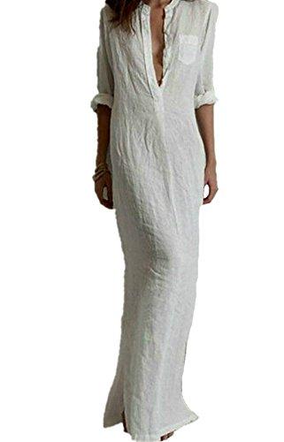 EMIN Damen Abendkleider Lang Elegant Sexy Kleider Tiefer V Baumwollkleid  Leinen Weiß