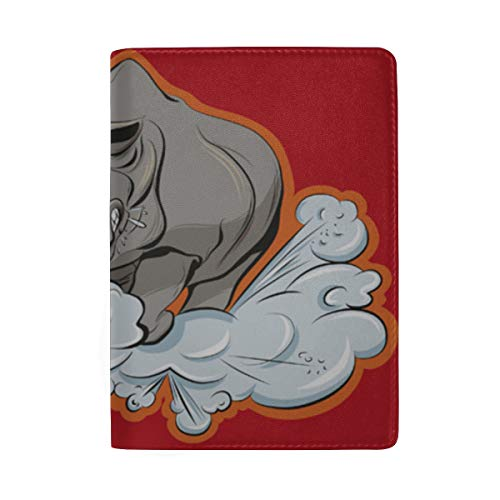 Big Tough Rhino Cartoon Blocking Print Passinhabers Hülle Reisegepäck Passport Wallet Kartenhalter Aus Leder Für Männer Frauen Kinder Familie -