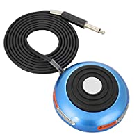 Tattoo Pedal Switch, Round Gem Stainless Steel Tattoo Foot Pedal Switch 360 Degree Switch w/ 5 ft. Power Cord Controller for Tattoo Machine Power Supply (Blue)