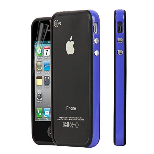 New Style Bumper Cover Jelly Case for Apple iPhone 4 4S amarillo-negro blue-black
