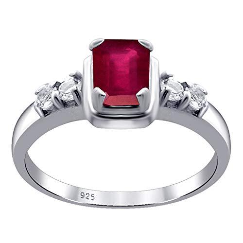 Orchid Jewelry Unisex Damen - Sterling-Silber 925 Sterling-Silber 925 Oktagonschliff Rund White Red (5 Größe Damen-ehering)