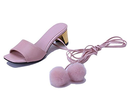 640fdb3b3ac82a SHINIK Damen öffnen Zehe Pumps Sommer Leder Schuhe Lace Atemberaubende  kalte Bein Fersen können angepasst werden