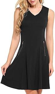 ACEVOG Womens Sleeveless Summer Cotton Casual Beach Flared Tank Dress