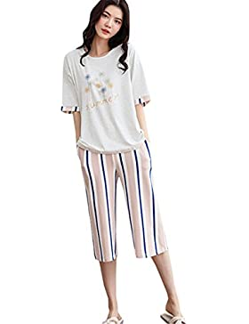 0d0e523ce3 COCO Clothing Camicie da notte Donna Nuovo Manica Corte Stampa Primavera  Estive Girocollo Pigiami due pezzi