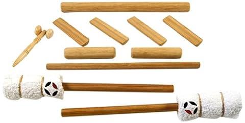 massagebyheat massagestöcke aus Bambus mit Gesicht