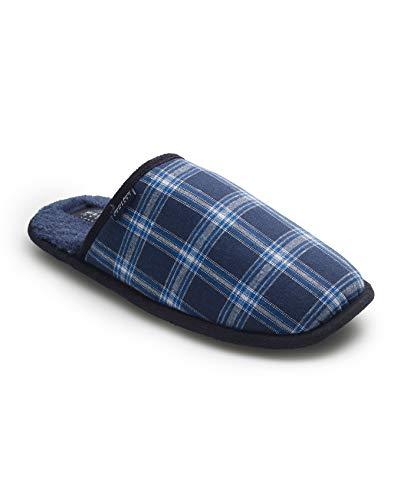 Savile Row Company Men's Navy Check Mule Slippers 11/12
