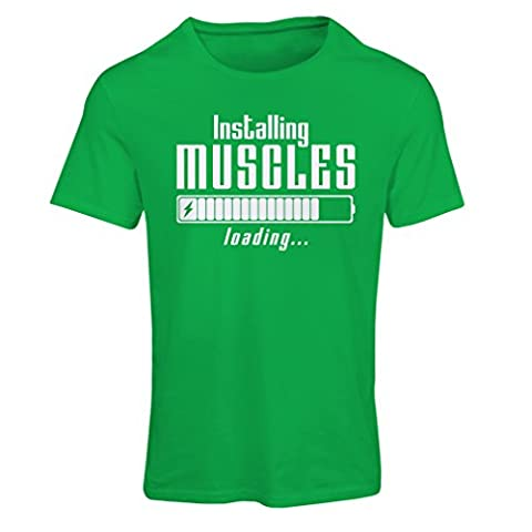 T shirts for women Muscle works clothing - weightlift, for muscle growth masters, vintage design anytime fitness apparel (Large Green White)