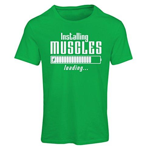 Frauen T-Shirt Muskelarbeit Kleidung - für Muskelaufbau Meister, Vintage Design, Fitness Kleidung (Large Grün Weiß)