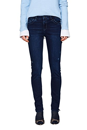 ESPRIT Damen Slim Jeans 018EE1B006, Blau (Blue Dark Wash 901), W26/L30 (Dark-denim-jeans Basic)