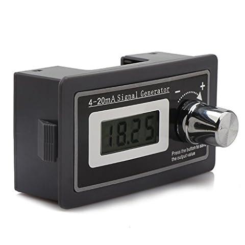 DROK® 4-20mA Générateur de signal Transducteur de courant, compteur de charge PLC Instrument LCD Panneau d'affichage numérique, transmetteur de courant à deux fils facile à connecter