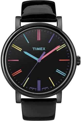 Timex Damen-Armbanduhr Timex Style Analog Leder schwarz T2N790D7