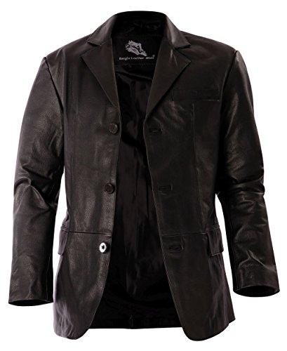 1403 Bangla Eleganter Herren Lederblazer Jacke Schwarz M