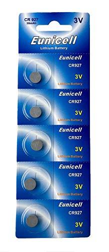 Eunicell 5 x CR927 3V Lithium Knopfzelle 30 mAh (1 Blistercard a 5 Batterien) EINWEG Markenware