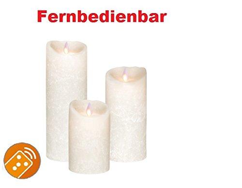 3 set! Sompex Flame vela de cera con LED/velas con mando V14 blanco Frost (color blanco/blanco esmerilado) 8 x 12,5 cm - 8 x 18 cm - 8 x 23 cm (conjunto de 3)