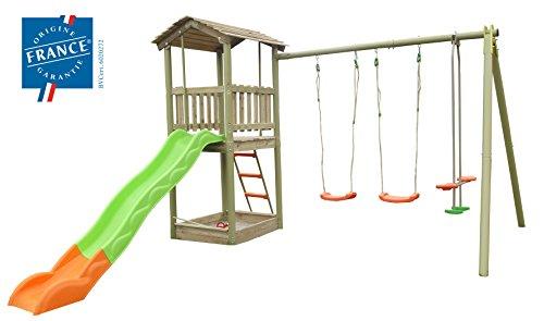 Empfehlung: Holz Turmschaukel mit 3 Schaukeln & Rutsche  von Trigano Jardin*