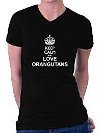 Teeburon Keep calm and love Orangutans Damen V-Ausschnitt T-Shirt