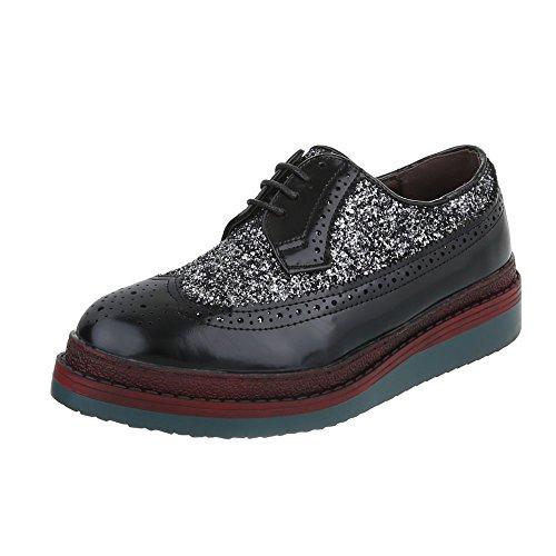 Ital-Design Schnürer Damen-Schuhe Oxford Schnürer Schnürsenkel Halbschuhe Schwarz Silber, Gr 37, A260-