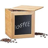 Relaxdays Aufbewahrungsbox mit Tafel, schmale Holzbox, Bambus, mit Deckel, für Küche, HBT: 17 x 15,5 x 15,5 cm, natur preisvergleich bei kinderzimmerdekopreise.eu