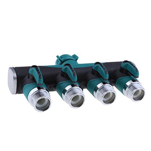 non-brand MagiDeal Adaptateur Tuyau Collecteur d'arrêt Prise Jardin Pièces Tuyau d'eau Connecteur Split - Vert