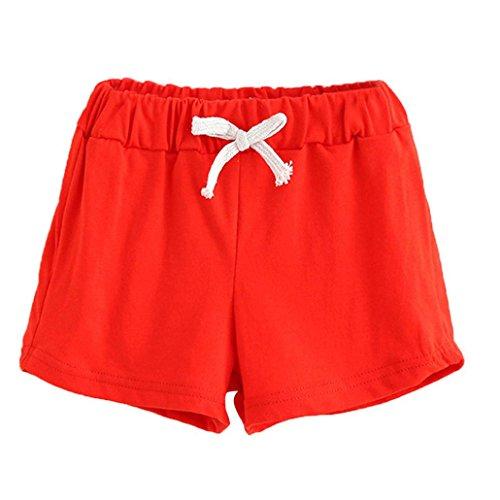 Bekleidung Longra Sommer Kinder Baumwoll Shorts Jungen Und Mädchen Kleidung Baby Mode kurz Sporthosen(2-6Jahre) (90CM 2Jahre, Red) (Und Jungen 1 Shorts)