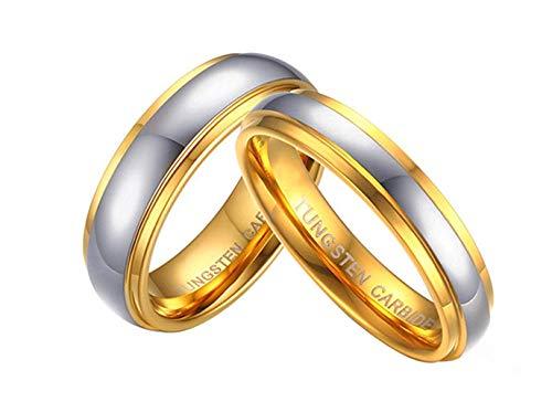 Ybmen lui & lei 6mm / 4mm placcato oro anello di charme in carburo di tungsteno wedding couple ring set per san valentino