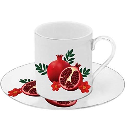 Floral Demitasse (Porzellan Porzellan Espresso Türkischer Kaffee Demitasse 6er Set Tassen + Untertassen Granatapfel)