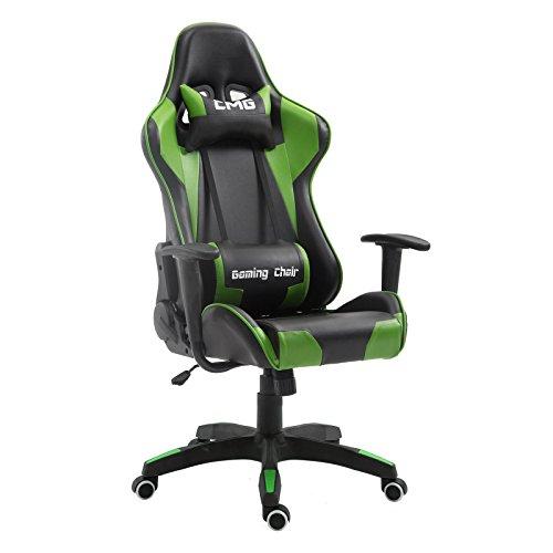 GAMING Drehstuhl Bürostuhl Racer Chefsessel Schreibtischstuhl, höhenverstellbar, Wippmechanik in schwarz/grün