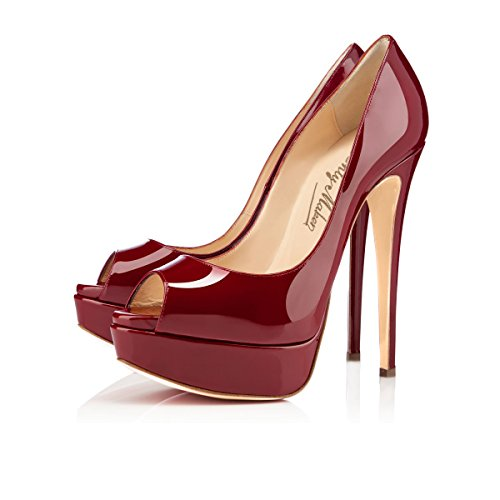 Onlymaker Damenschuhe High Heels Pumps Peep Toe Stiletto Plateau Absatz Lackleder Rot