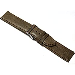 20mm Distressed 'Vintage Style' Brown Leather Watch Strap.