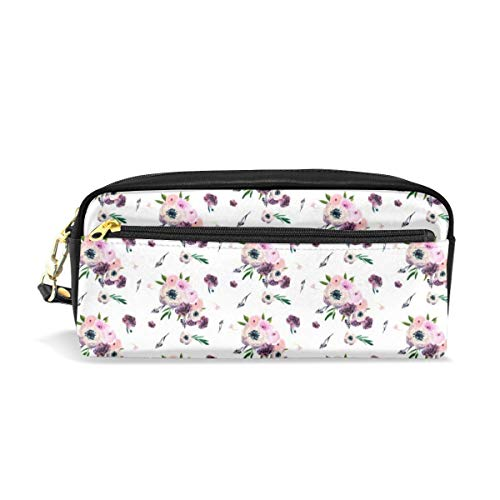 8.5 Dunkler Blumendruck in Weiß Half-Drop_705 Kosmetiktaschen Federmäppchen Tragbarer Reise-Make-up-Organizer Multifunktions-Etui Taschen für Frauen - Designer-drop-bag