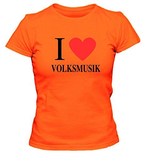 I love Volksmusik FUN Damen T-Shirt, Größe:XL;Farbe:orange
