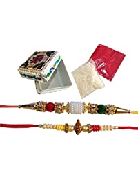 PragAart, Rakhi with Roli Chawal and Traditional Box for Men (Multi-colour)-Set of 2