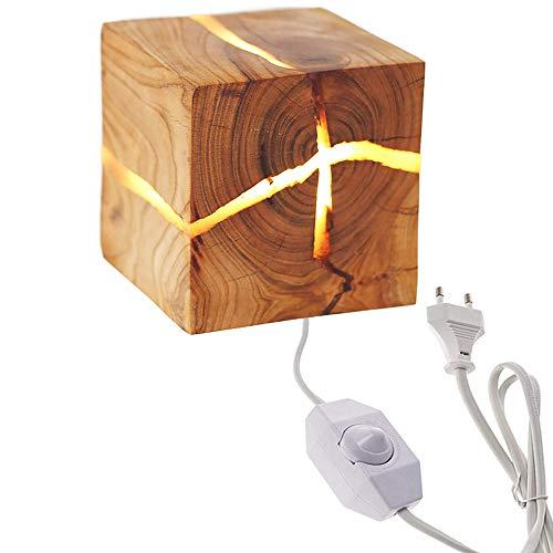 Addison 5W LED Holz Riss Wandleuchte, Klein Nachtlicht Hölzerne Kreativ Wandlampe, Schlafzimmer Nachttischlampe Gang Korridor innen Dekoration, moderne Warmweiß mit 2.0m Netzkabel und dimmer Schalter -