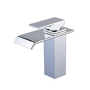 Hiendure® Grifo Lavabo Cuarto de baño contemporáneo Cascada Grifo del Fregadero (Cromado)